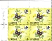Lesotho 1984 Butterflies/ Butterfly/ Insects/ Nature/ 20s on 4s Surcharge/FAINT print variety/ error 4v blk (b3690d)
