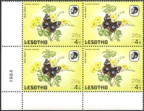 Lesotho 1984 Butterflies/ Butterfly/ Insects/ Nature/ 20s on 4s Surcharge/ FAINT print variety/ error 4v blk (b3690e)
