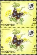Lesotho 1984 Butterflies/ Butterfly/ Insects/ Nature/ 20s on 4s Surcharge/ Misplaced ERROR 2 x 1v pair (2v pr) (b3690j)