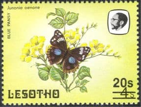 Lesotho 1984 Butterflies/ Insects/ Nature/ 20s on 4s Surcharge/ Butterfly 1v o/p overprint (b3690a)