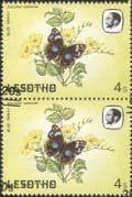Lesotho 1984 Butterflies/ Insects/ Nature/ 20s on 4s Surcharge/ ERROR 2v pr (b3691t)