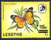 Lesotho 1984 Butterflies Surcharge  /  15s on 1s   1v Double ERROR ref:b3152