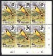 Lesotho 1986 Birds  /  Nature 15s on 5s surch 6v c  /  b (a76)