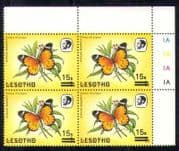 Lesotho 1986 Butterflies  /  Insects 15s on 1s sur c  /  b  a64