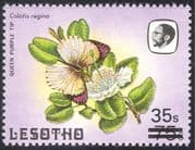 "Lesotho 1986 Surcharge 35s on 75s/ Large ""S"" / Butterflies/I nsects/ Nature 1v (n43235a)"