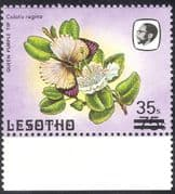 "Lesotho 1986 Surcharge 35s on 75s/ Small ""s""/ Butterflies/ Insects/ Nature 1v (n43235)"