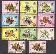 Lesotho 1986 Surcharges  /  Butterflies  /  Insects 11v n21915