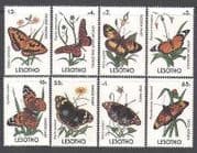 Lesotho 1990 Butterflies  /  Insects  /  Flowers 8v set (b1283)