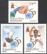 Lesotho 1995 UN 50th Anniversary/ Dove of Peace/ Scales/ Hands 3v set (n16428)