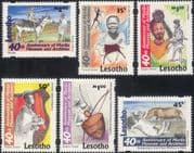 Lesotho 1998 Rock Painting/ Art/ Hippo/ Cattle/ Drum/Music/ Warrior/ Animals/ Nature 6v set (n16436)