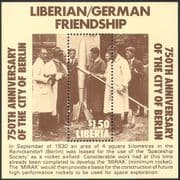 Liberia 1987 Berlin 750th Anniversary/ Rocket/ Space/ Science/ Scientists/ People 1v m/s (n41559)