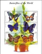 Liberia 2001 Butterflies/ Insects/ Nature/ Conservation/ Butterfly 6v m/s (n26400f)