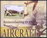 Liberia 2004  WWII/ Military/ War/ D-Day/ Planes/ Aviation/ Aircraft/ Air Force 1v m/s (n40194)