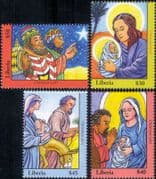 Liberia 2007  Christmas/ Greetings/ Nativity/ Magi/ Kings/ Donkey  4v set (n46357)