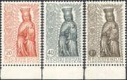 Liechtenstein 1954 End of Marian Year/ Madonna/ Child/ Statue/ Religion/ Art/ Papal Edict/ Popes 3v set (n44236)