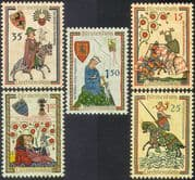 Liechtenstein 1961 Minnesingers/ Knights/ Horses/ Music/ Singing/ Art 5v set (n42757)