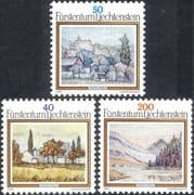 Liechtenstein 1983 Anton Ender/ Artists/ Art/ Paintings/ Castle/ Reservoir 3v set (n44228)