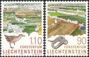 Liechtenstein 1999 Europa/ National Parks/ Gardens/ Smooth Snake/ Corn Crake/ Animals/ Birds/ Nature/ Wildlife/ Conservation 2v set (n44244)