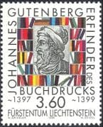 Liechtenstein 1999 Johannes Gutenberg/ Bible/ Printing Press/ Books/ People/ Inventors/ Inventions 1v (n44240)