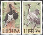 Lithuania 1991 Storks/ Cranes/ Endangered Birds/ Red Book/ Conservation/ Environment 2v set (n21070)