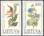 Lithuania 1992 Slipper Orchid/ Sea Holly/ Flowers/ Orchids/ Endangered Plants  2v set n30855