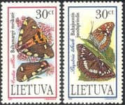 Lithuania 1995 Butterflies/ Insects/ Moths/ Nature/ Conservation 2v set (b2035)