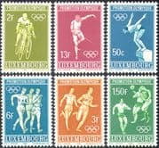 Luxembourg 1968 Sports/ Olympic Games/ Olympics/ Cycling/ Football/ Fencing/ Diving/ Athletics/ Soccer/ Bikes/ Bicycles 6v set (n42740)