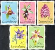 Luxembourg 1975 Orchids/ Flowers/ Plants/ Nature/ Welfare Fund 5v set (n34064)