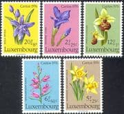 Luxembourg 1976 Orchids/ Flowers/ Plants/ Nature/ Welfare Fund 5v set (42742)