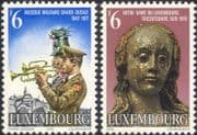 Luxembourg 1977 Statue/ Saint/ Music/ Trumpet/ Military Band/ Uniforms/ Soldiers 2v set (n46102)