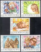 Luxembourg 1985 Clown/ Circus/ Children/ Statue/ Art/ Welfare Fund 5v set (n37816)