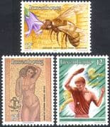 Luxembourg 1986 Bee  /  Table Tennis  /  Nude  /  Art  /  Insects  /  Nature  /  Sports 3v set (n31669)