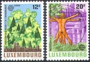 Luxembourg 1986 Europa  /  Environment  /  Car  /  Industry  /  Trees  /  Forest  /  Animation 2v n34067
