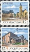 Luxembourg 1990 Tourism/ Buildings/ Architecture/ Church/ Clock Tower/ Town Hall 2v set (lu10112)