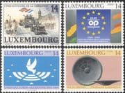 Luxembourg 1994 Liberation/ WWII/ Army/ Tank/ Jeep/Transport/ Clock Tower/ Bronze/ Heritage/ History/ Art/ Dove 4v (n25753)