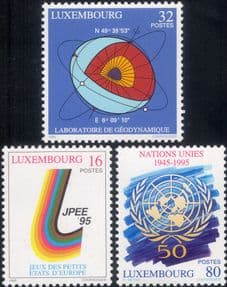 Luxembourg 1995  UN/ UNO/ United Nations/ Sports/ Geophysics/ Science  3v set  (lu10177)