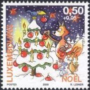 Luxembourg 2009 Christmas/ Greetings/ Fox/Rabbit/ Mouse/ Tree/ /Animals/ Animation 1v (lu10159)