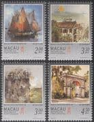 Macau 1997 Boat/ Fortress/ Gate/ Buildings/ Art/ Kwok Se/ Artists/ Paintings/ Architecture 4v set (n22868)
