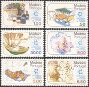 Madeira 1980 Tourism/ Wine/ Orchid/ Fishing Boat/ Oxen/ Ox Sledge/ Transport/ Nature/ Flowers/ Plants 6v set (n44498)