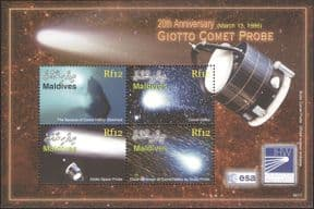 Maldives 2006  Space/ Halley's Comet/ Giotto Space Probe/ Astronomy  4v m/s  (n26468)