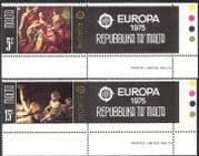 Malta 1975 Europa/ Art/ Paintings/ Artists/ du Mura/ Boulogne 2v set + labels (n43085)