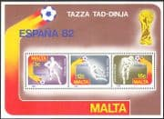 "Malta 1982 World Cup Football Championships/ ""Espana'82""/ WC/ Soccer/ Sports/ Games 3v m/s (s863)"