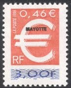 Mayotte 1999 Euro Currency Introduction/ Overprint of France Definitive 1v (n42776)
