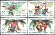 Micronesia 1994 Sports/ Basketball/ Diving/ Fish/ Climbing/ Palm Trees/ Nature/ Coconut Palms 4v blk (set as block) (s1707)