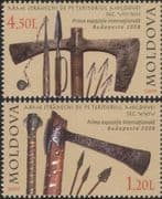 Moldova 2009  Ancient Weapons/ Axe/ Arrows/ Spear/ Military/ War/ History/ Archery   2v set (md1005)