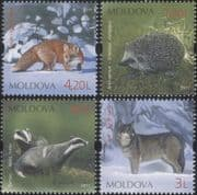 Moldova 2011  Hedgehog/ Fox/ Wolf/ Badger/ Animals/ Wildlife/ Nature 4v set (md1034)