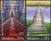 Moldova 2018 Europa/ Bridges/ Steam Trains/ Railway/ Transport/ Architecture 2v set (md1025)
