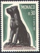 Monaco 1967 Dogs/ Statue/ Pets/ Animals/ Cynology/ Cynological Federation/ Kennel Club/ Nature 1v (n21765)