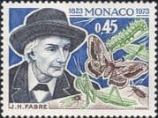 Monaco 1973  Birth Anniversaries/ J H Fabre/ Butterfly/ Insects/ Nature/ People  1v ()n39517d)