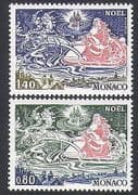 Monaco 1977 Christmas  /  Greetings  /  Santa  /  Reindeer  /  Sleigh  /  Animation 2v set (n34176)